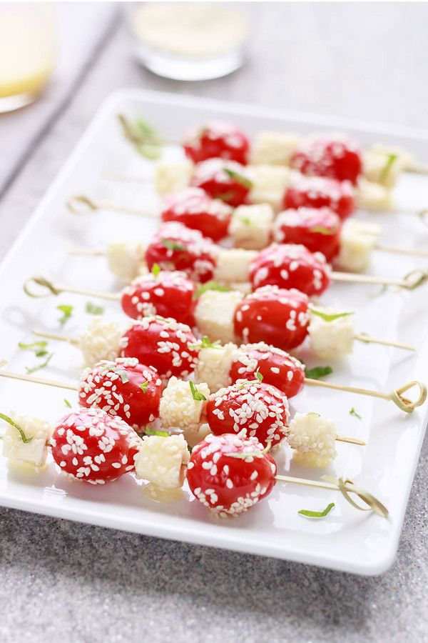 Caprese Salad Skewers with Honey and Sesame