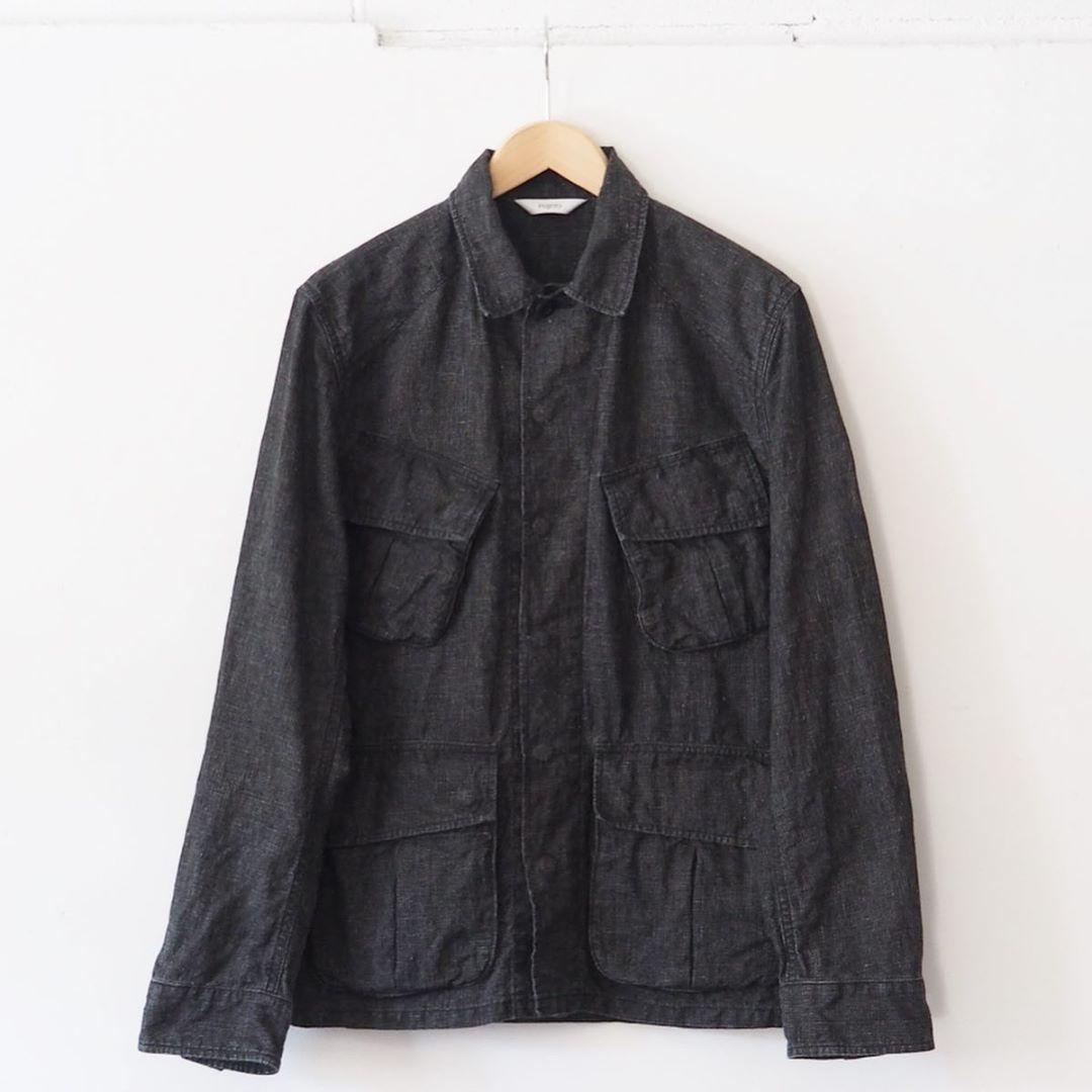 fujito on instagram fujito jungle fatigue jacketをご紹介します 今日はfujitoのジャングル ファティーグジャケットで墨汁コーティングタイプをご紹介します このジャケットはリネン100 の生地を使い ガンクラブチェックの柄で墨汁コー 衣類 ジャケット