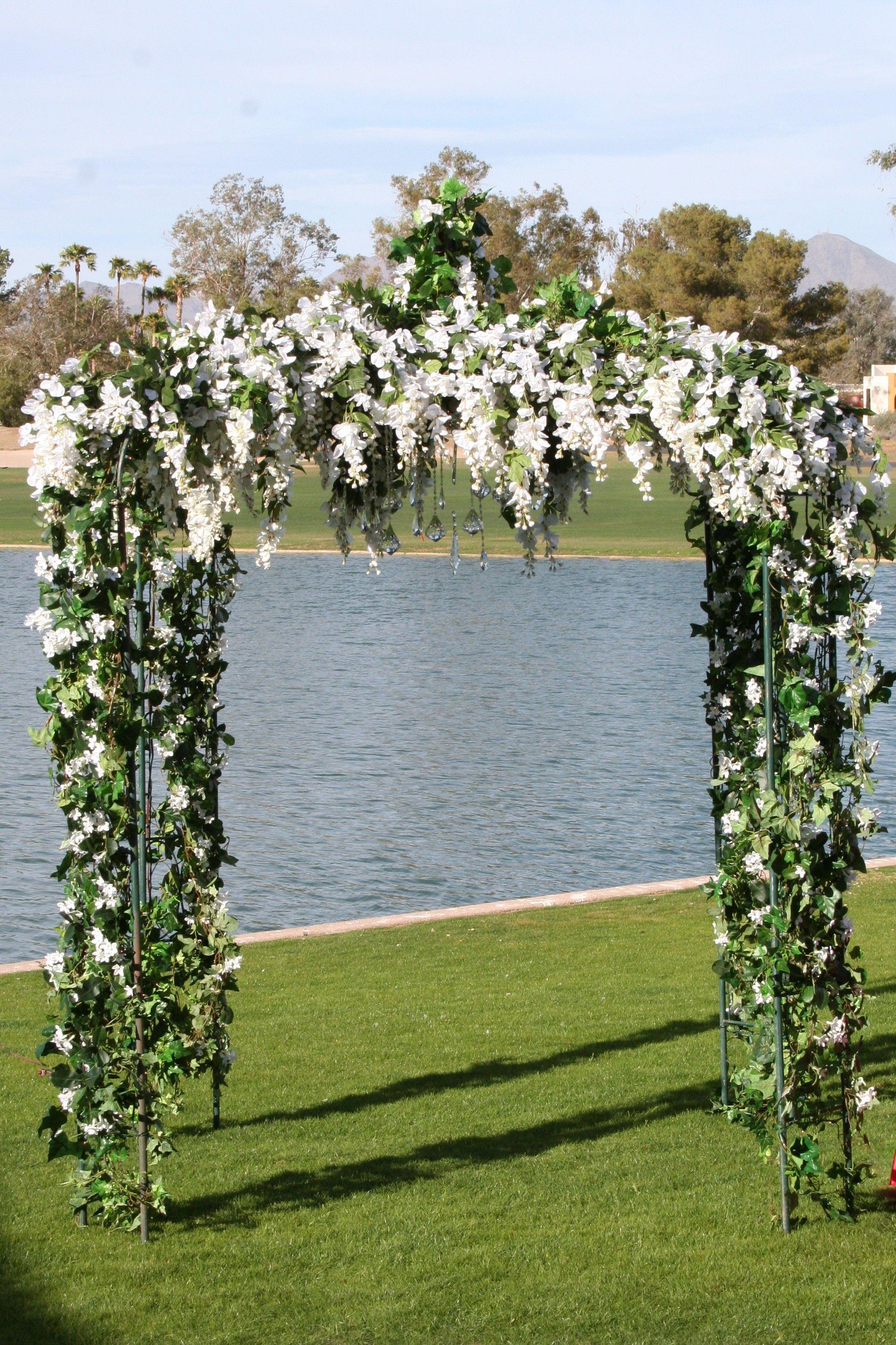 Outdoor Wedding Backdrop Gazebo Ivy Vines White Flowers