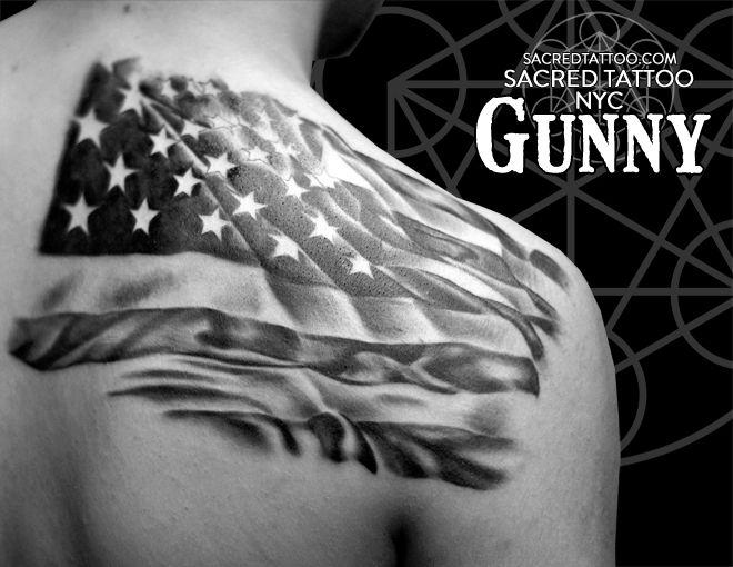 Art By Gunny Tattoo Black And Grey American Flag Www