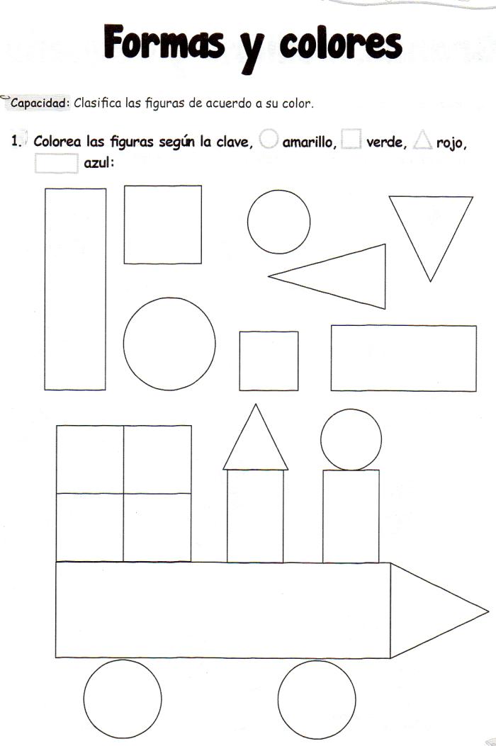 Ficha imprimibles de matemáticas para 5 años. Tema: formas y colores ...
