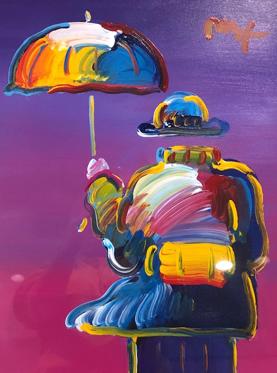 Umbrella Man on Purple 32x28 by Peter Max Acrylic And