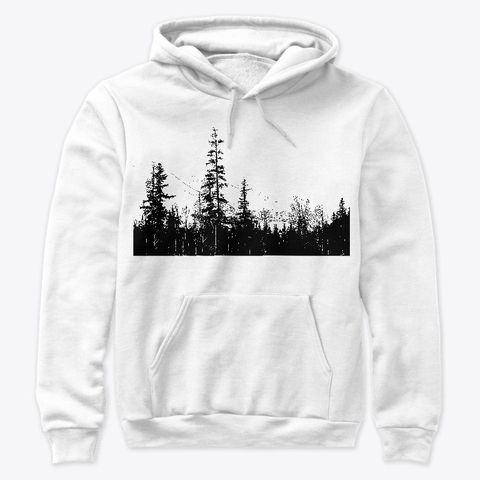 Show your love of adventure in the outdoors with a look of a minimal woodland forest graphic.   Mindfulesque creates designs inspired by adventure in the mountains, and by the sea. Focusing on textures, details, and moods of nature.  This item is created for you with all original photography and made into designs. #hoodie #blackandwhite #apparel #mountainlife #woodland #sweatshirt