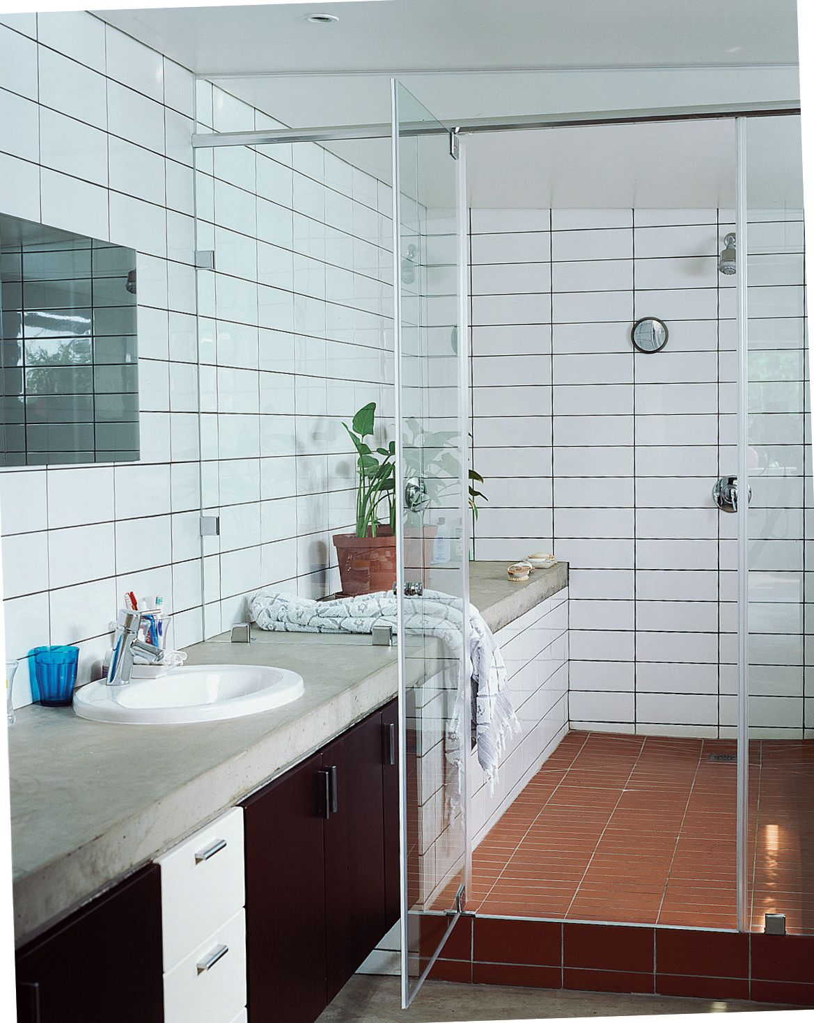 Amazing Bathroom - White & Terra Cotta Tiles, Cement Counters, Large ...