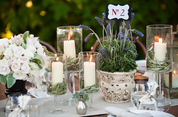 Lavanda / Lavander / Lavender    rustic-ojai-garden-wedding-potted-lavender-white-garden-rose-centerpieces