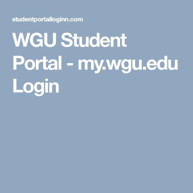 my wgu edu login