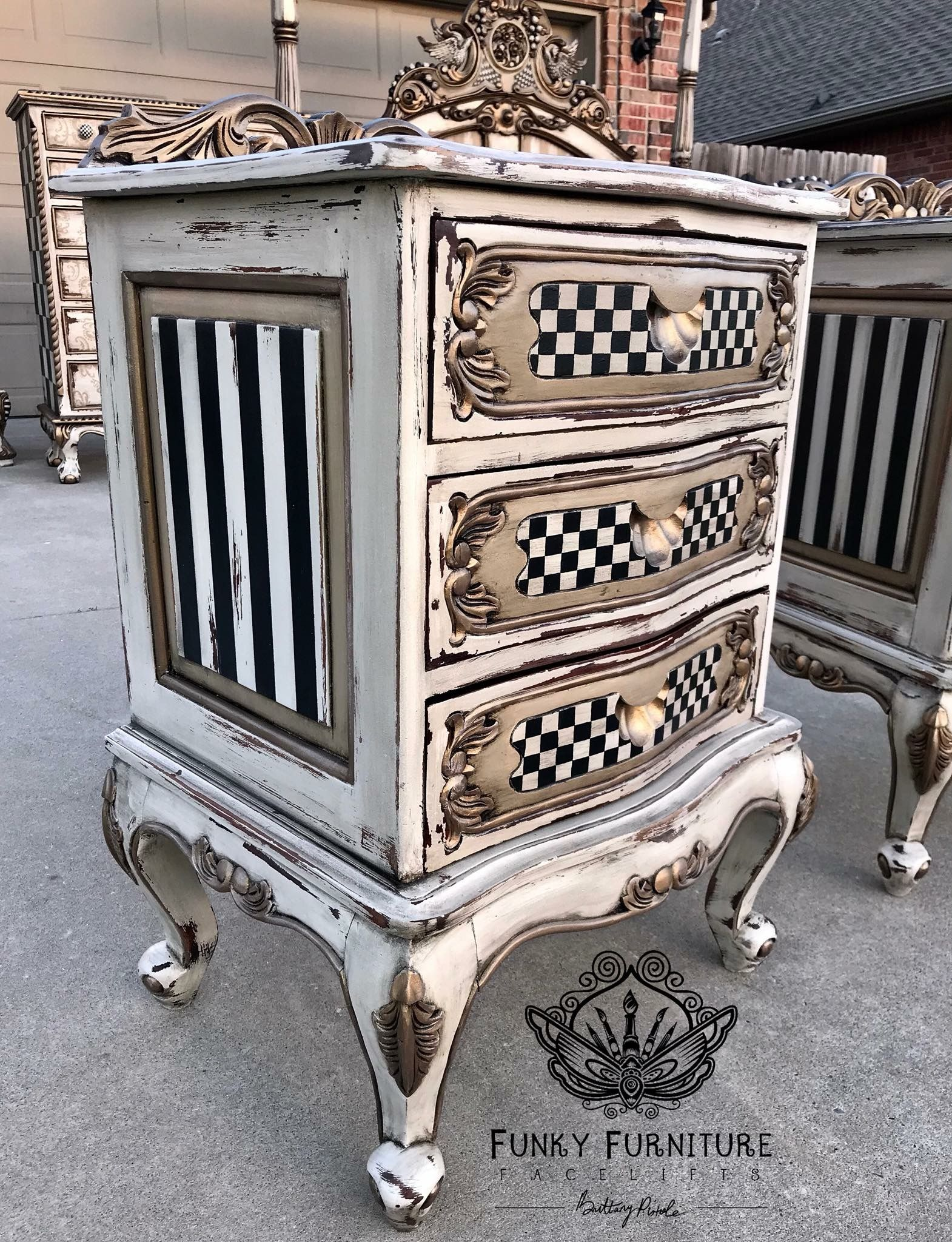 Whimsical French Provincial refinished furniture