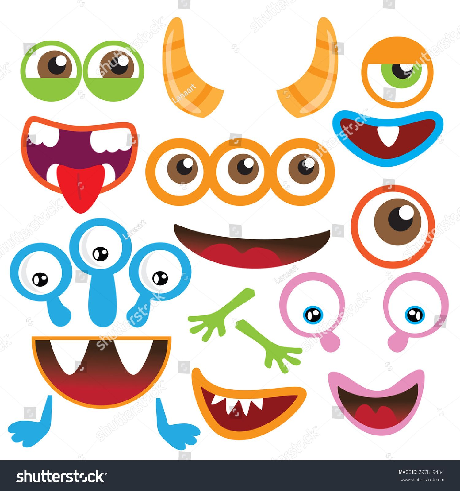 Monster Parts Vector Illustration