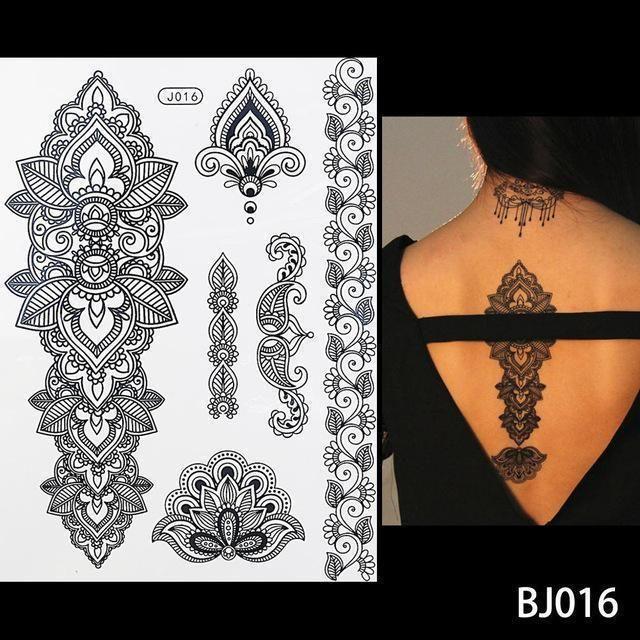 Black Henna Tattoo Uk: 1Pc Flash Waterproof Tattoo Women Black Ink Henna Jewel