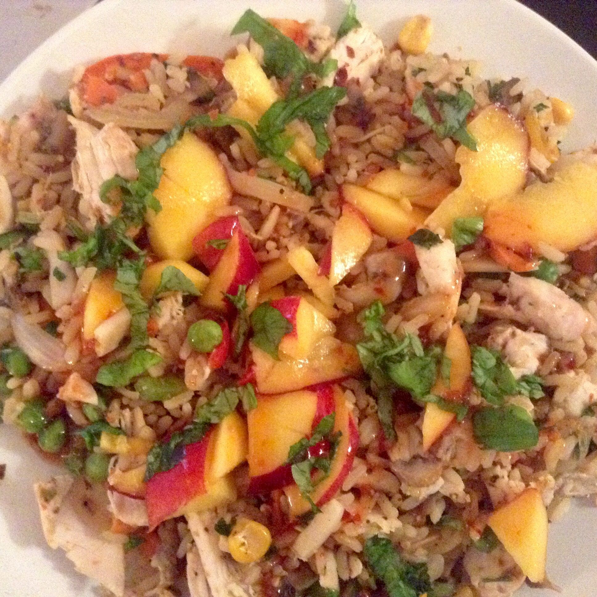 Spicy ricy chicken with nectarine