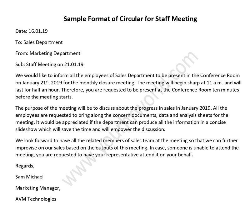 Sample of Circular for Staff Meeting | HR Letter Formats | Staff