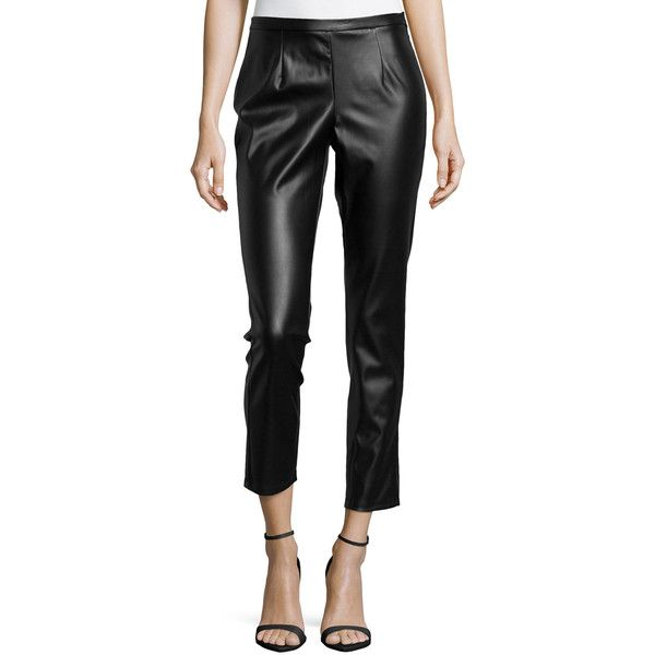 Philosophy Faux-Leather Cropped Leggings ($20) ❤ liked on Polyvore