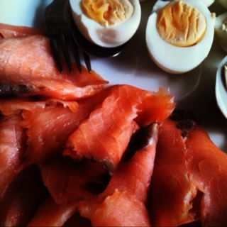Smoked salmon and eggs - part of Easter buffet