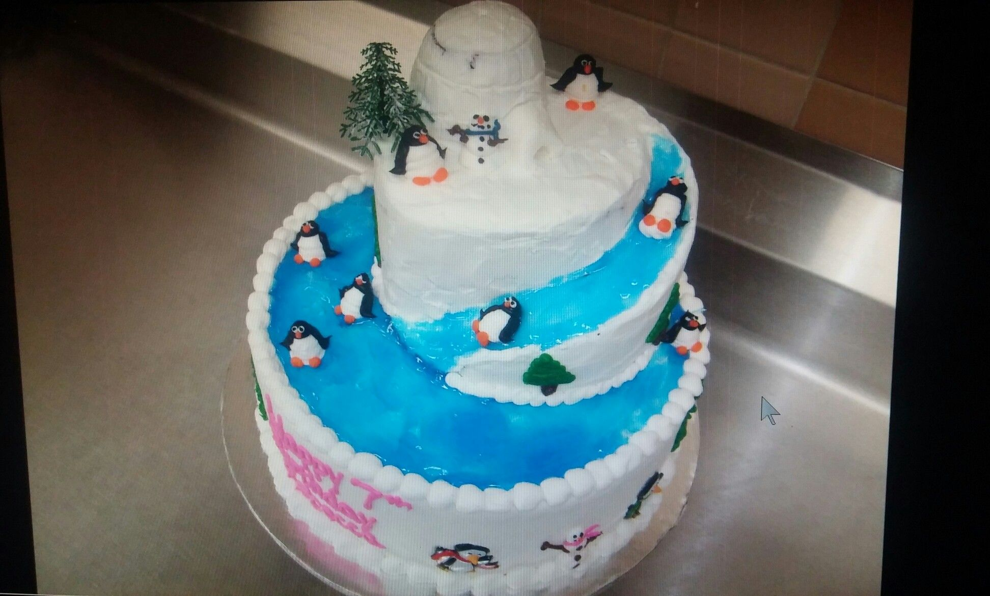 Brilliant 2 Tier Penguin Cake With Images Penguin Cakes Funny Birthday Cards Online Alyptdamsfinfo