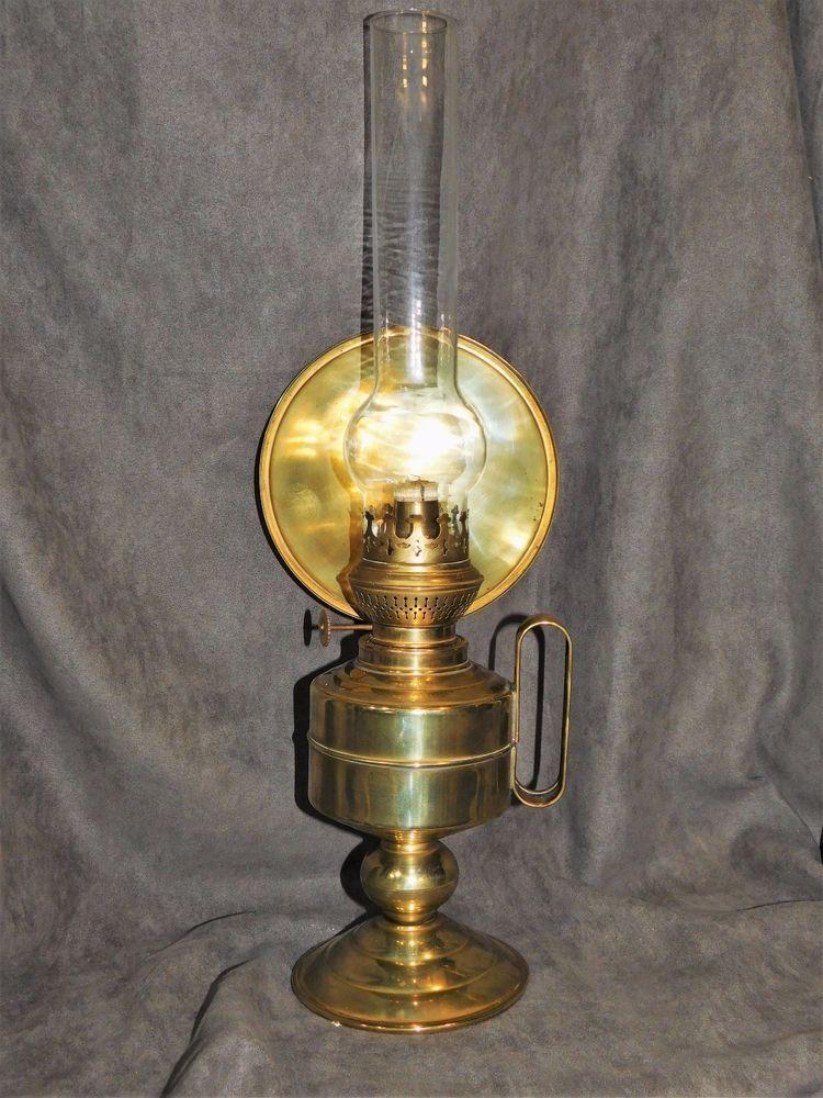 Lampe A Petrole En Cuivre Kosmos Brenner Avec Reflecteur Antique