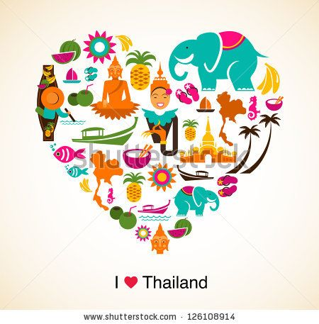Thailand Love Heart With Thai Icons And Symbols By Marish Via