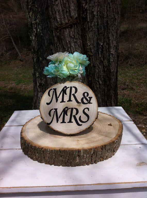 1 8 Rustic Wood Tree Slice Wedding Mr. And by RusticWeddingSupply