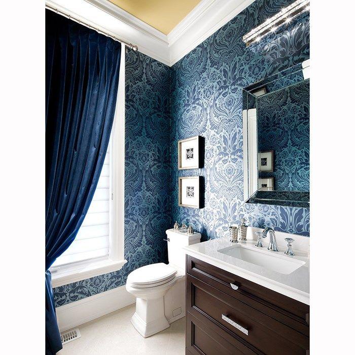 . Desire Damask Wallpaper   Designer Blue Damask Wall Coverings by