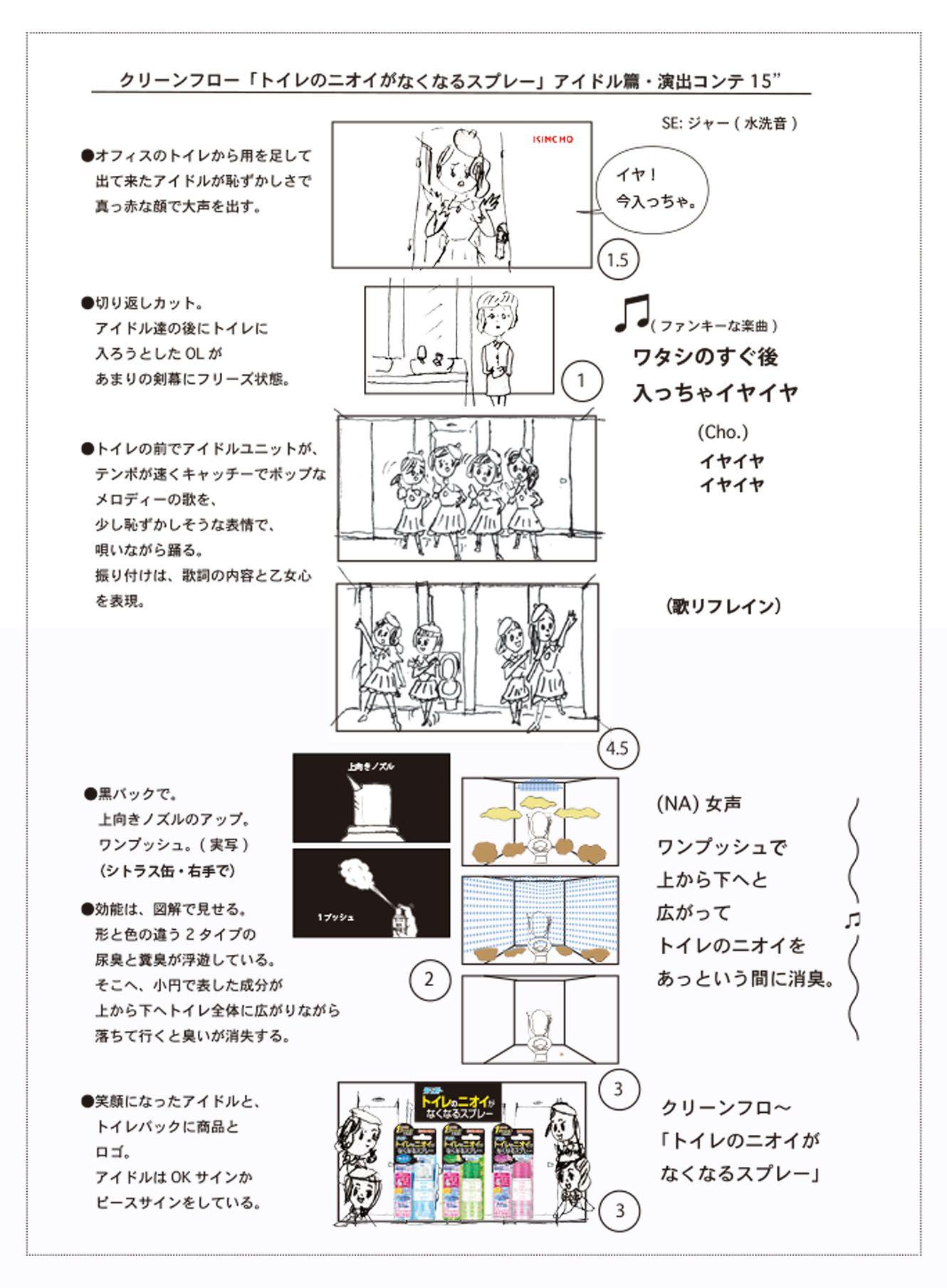 なぜトイレでアイドルが踊る キンチョー アイドル 篇cm制作の裏側 ブレーンデジタル版 絵コンテ メモ アイドル