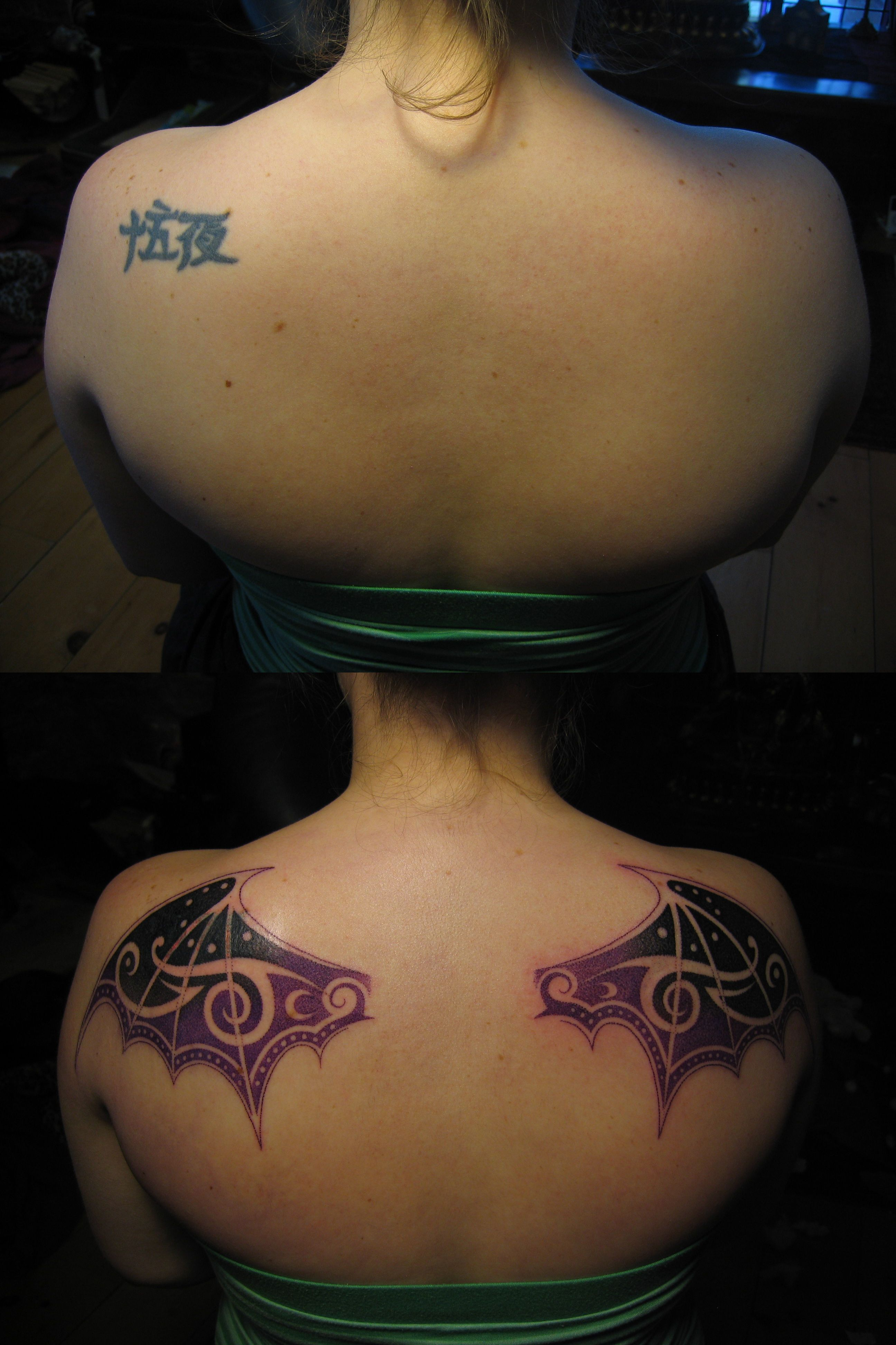 Cover Up Chinese Lettering Before Bat Wings After Tattoo By