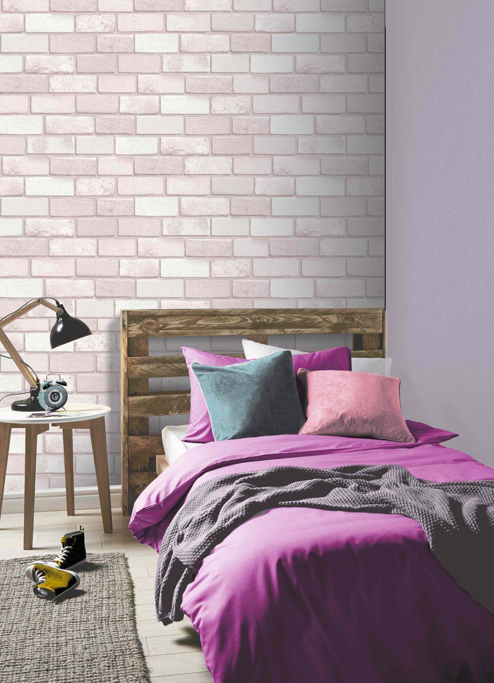 Arthouse Diamond Pink Brick Effect Modern Glitter
