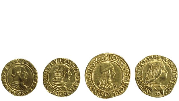 Four gold ducats of the Sforza dukes of Milan  Milan, Italy, AD 1450-1501  Portraits of Renaissance dukes