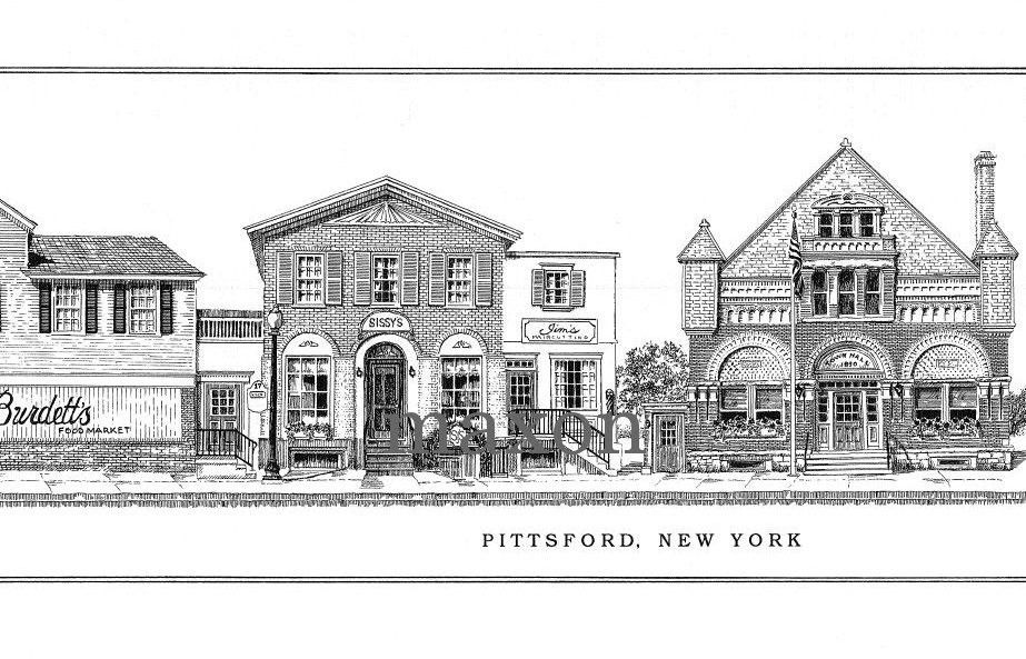 Pittsford, New York, Main Street, ink drawing print de blancoynegro en Etsy