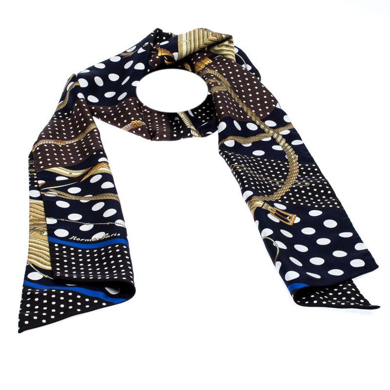 Hermès Marine Blue & Noir Clic Clac a Pois Silk Maxi Twilly Scarf #scarvesamp;shawls