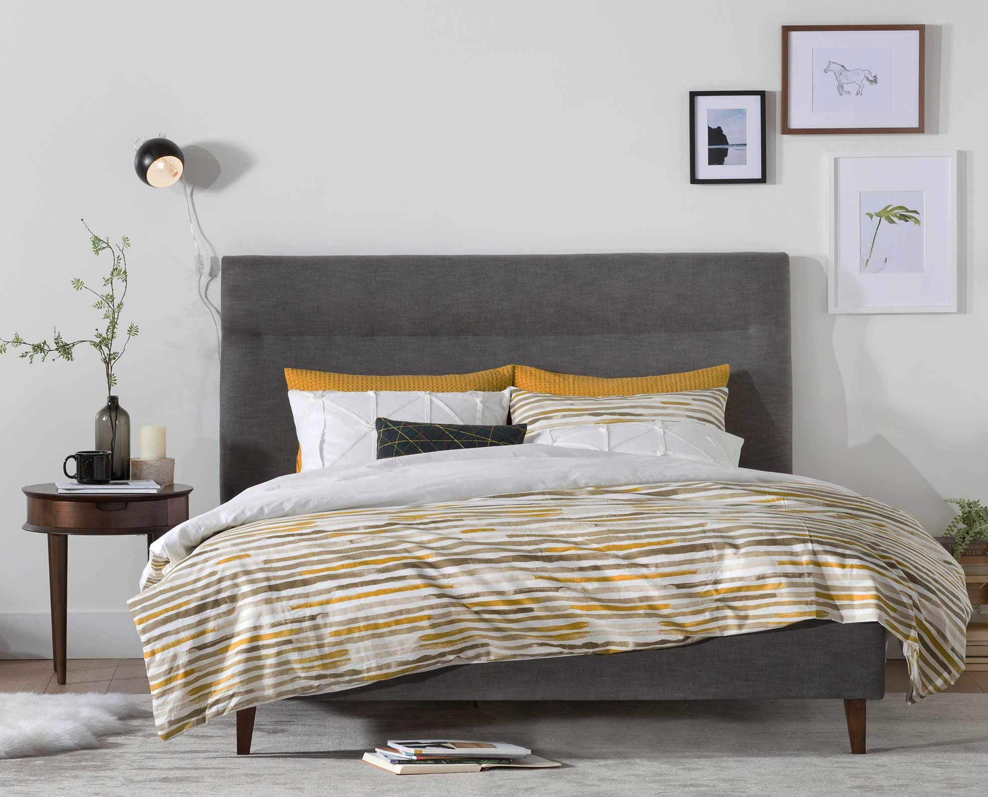 Curate A Modern Bedroom With The Tambur Bed Tall Headboard And Tapered Legs Inspire