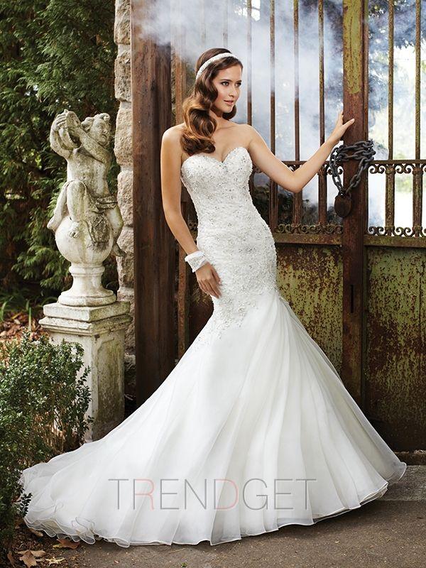 Sexy Appliques Trumpet / Mermaid Cathedral Train Wedding Dresses $212.99 - Trendget.com