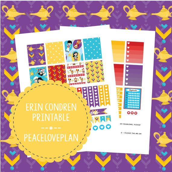 Arabian Nights Erin Condren Printable - Weekly Set, Happy Planner Stickers, PDF Instant Download