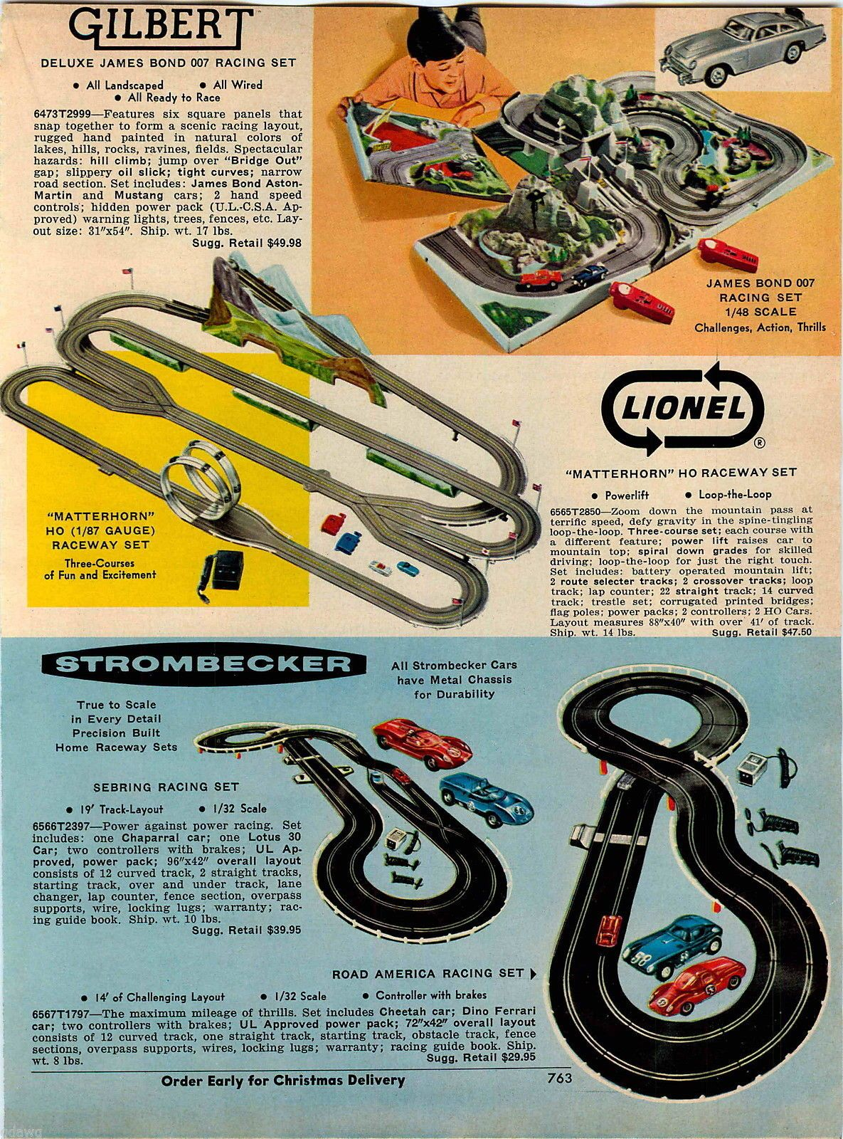 1967 advert gilbert james bond 007 lionel strombecker race car raceway toy sets ebay [ 1185 x 1600 Pixel ]