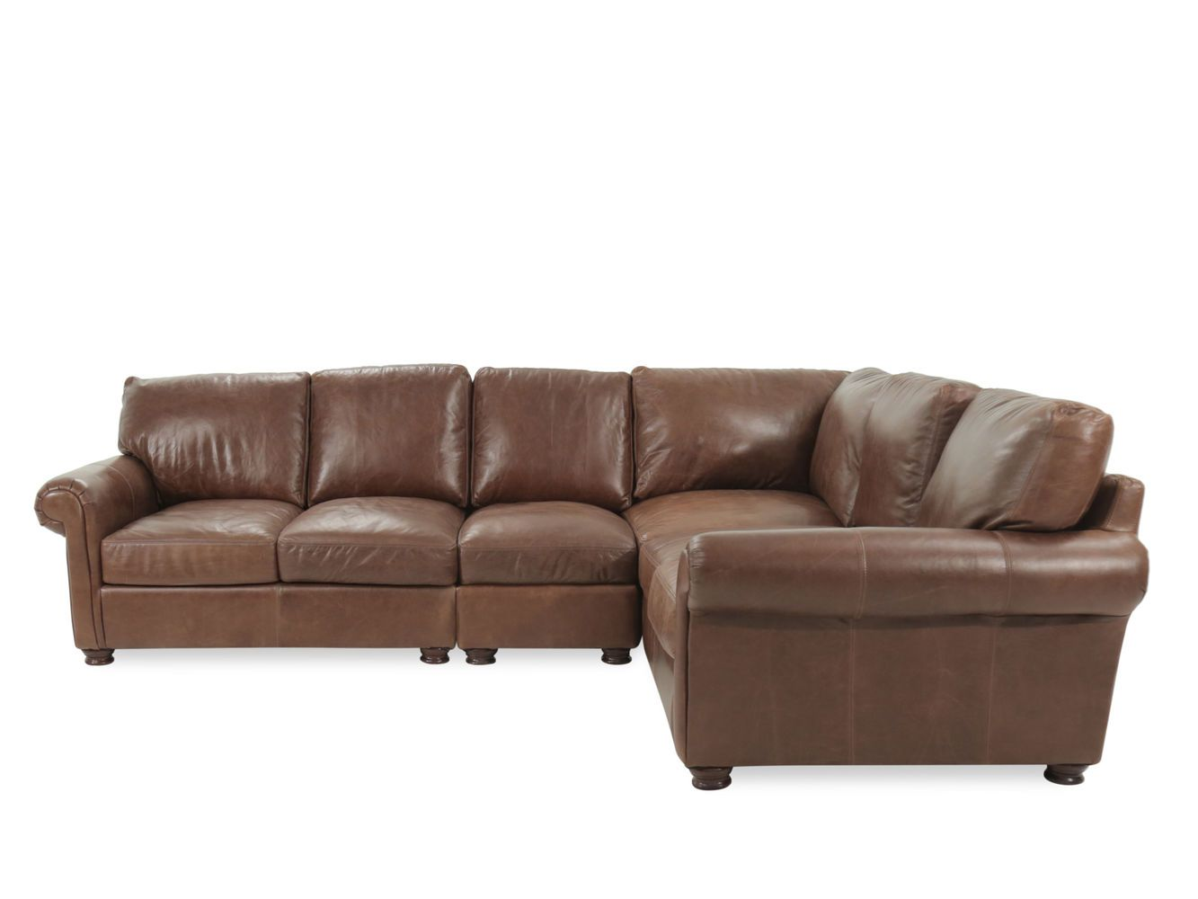 Usa Premium Leather Brompton Natural Four Piece Sectional Mathis Brothers Furniture Leather Sectional Sectional Living Room Seating