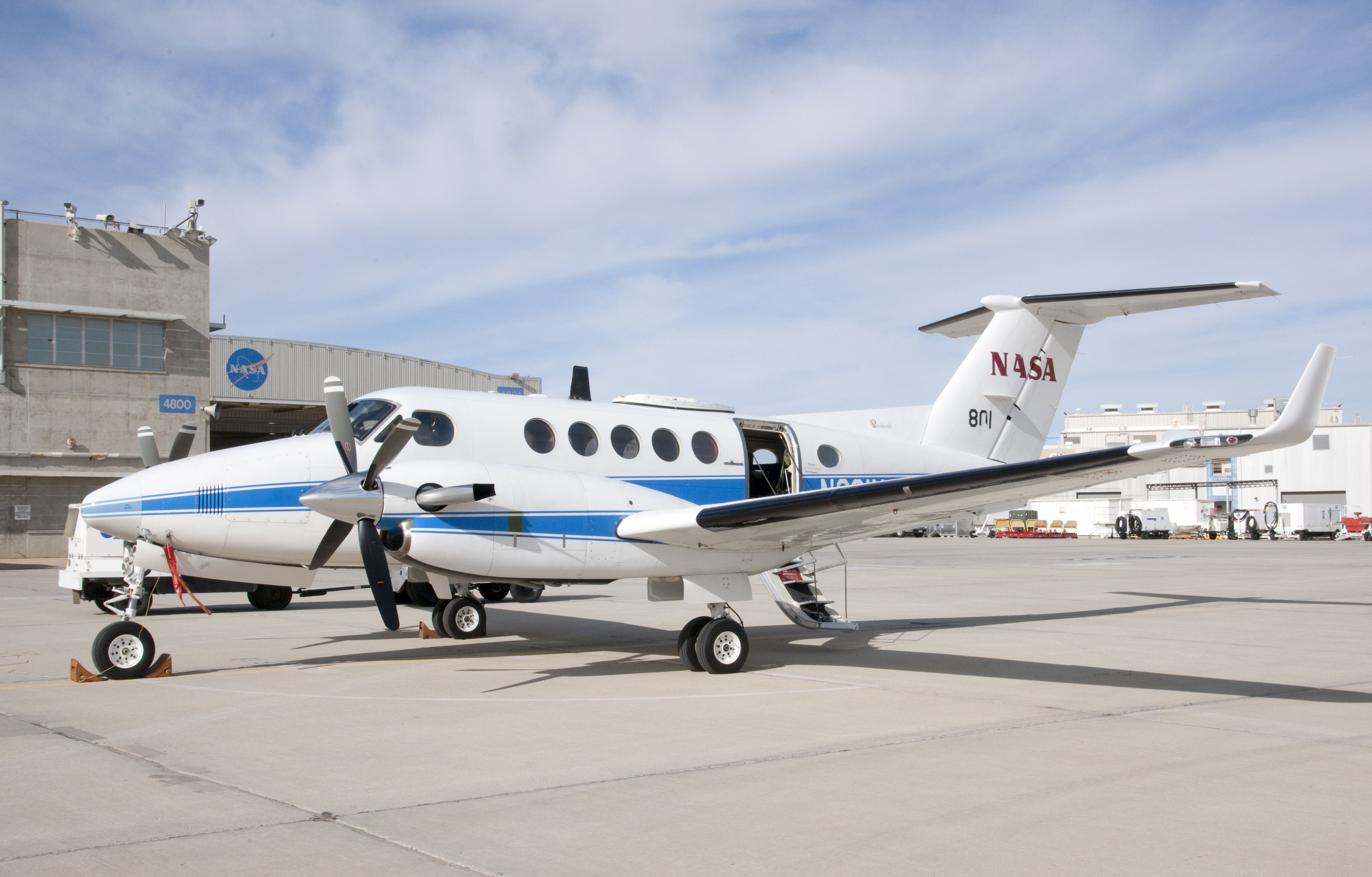 NASA's Beechcraft B200 Super King Air is shown on the