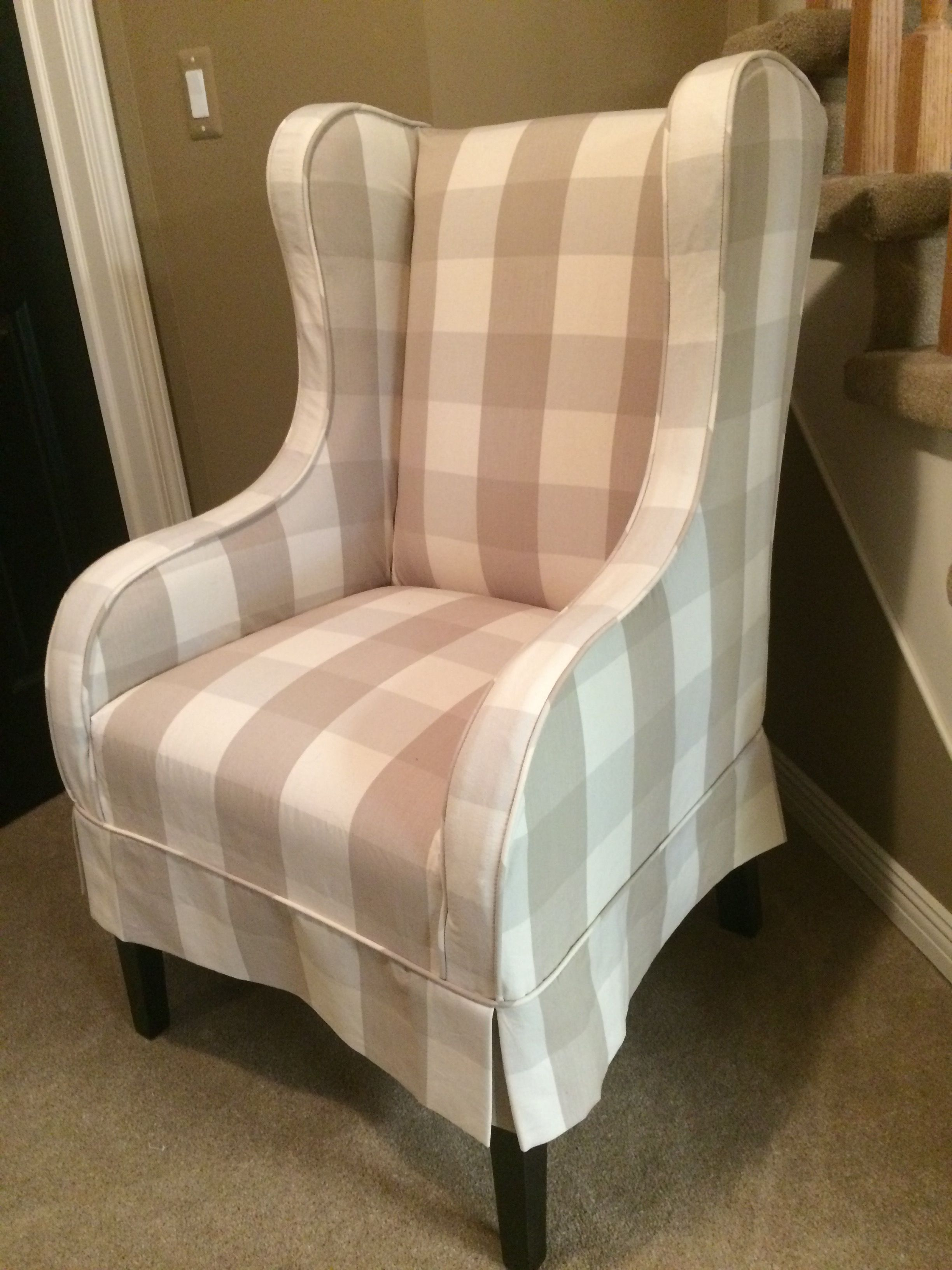 Fireside Muslin Wrap Wingback Chair Slipcovered In A Tan Buffalo