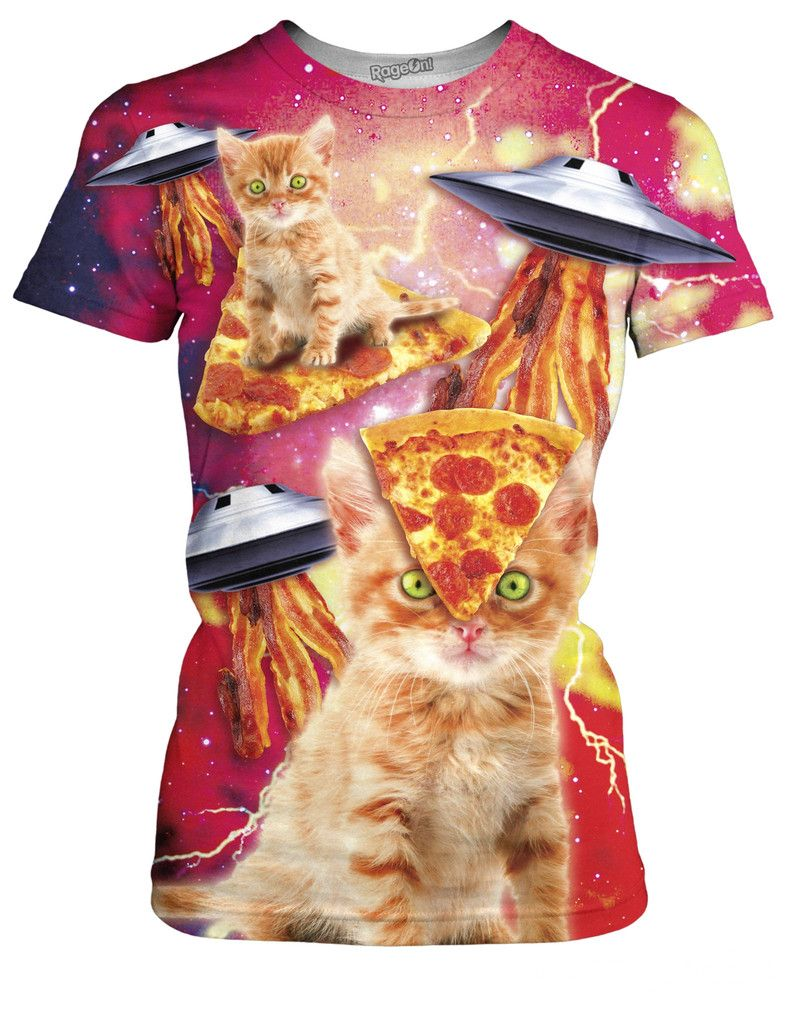 Bacon Pizza Space Cat T Shirt