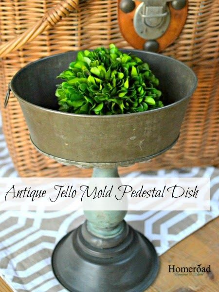 Antique Jello Tin Pedestal Dish Created From Junk Parts Found In The