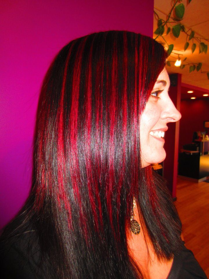 My client Lisa....Base done with Goldwell 2N and 2A....Highlights Pre-Lightened to a level 9 and Jazzing Semi-Perm Cherry Cola applied and processed with heat for 20 minutes
