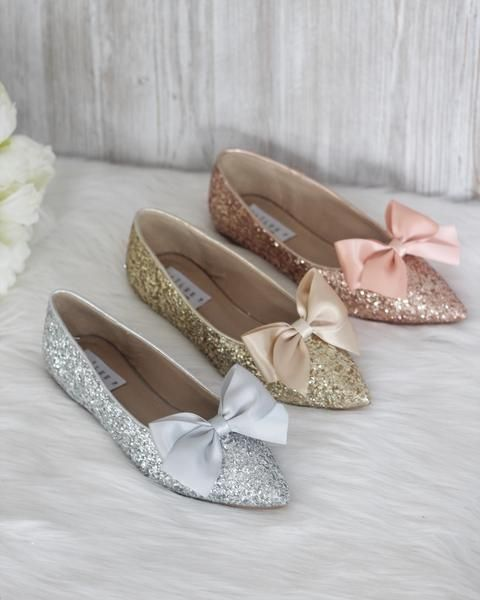 fa42af4785a9 Women Glitter Shoes - GOLD Pointy Toe Rock Glitter Flats with Satin Bow
