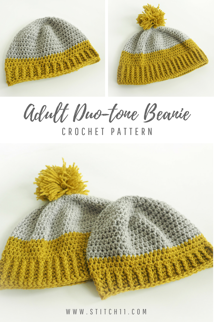Crochet Pattern- Adult Duo-Tone Beanie: I love this hat because it\'s ...