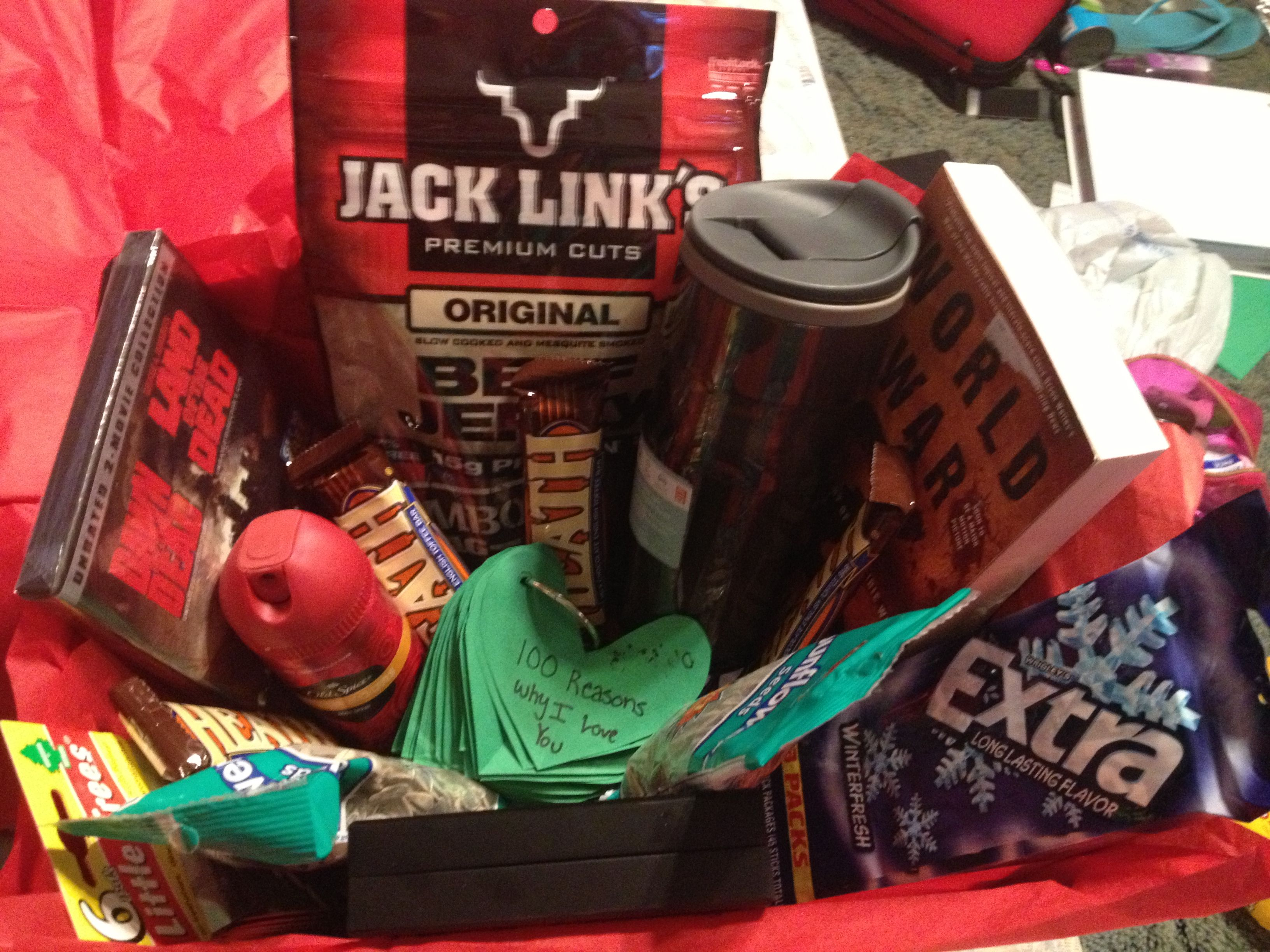 Anniversary food gift ideas ~ The man basket i made for my boyfriend for our year anniversary