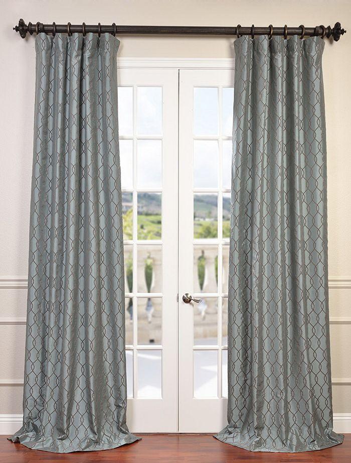 Meridian Slate Blue Flocked Faux Silk Taffeta Curtain Half Price Drapes Faux Silk Curtains Silk Curtains