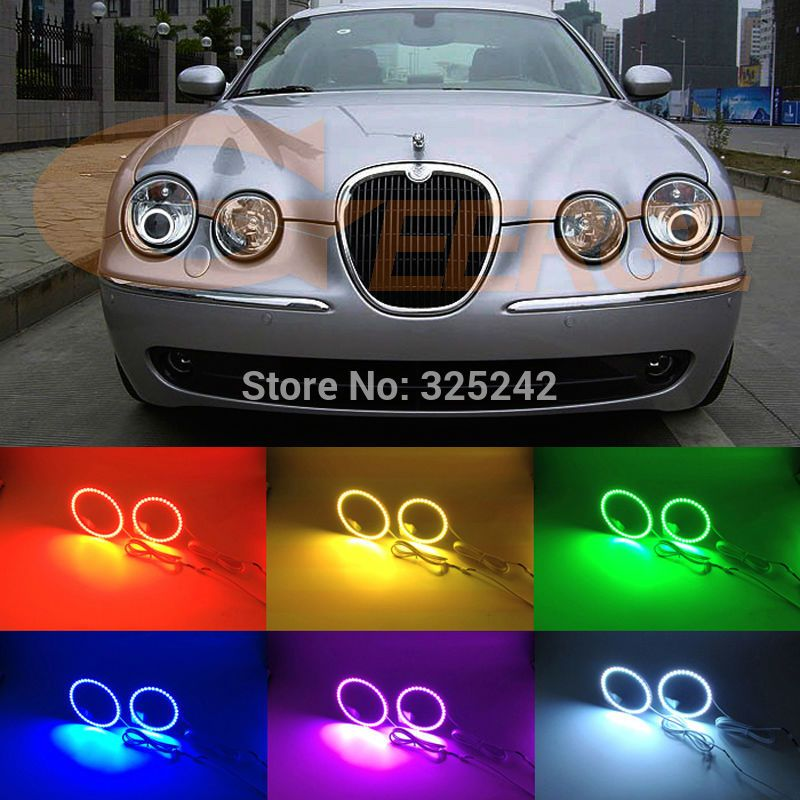 For Jaguar S Type S Type 2003 2004 2005 2006 2007 2008 Hid Headlight Excellent Multi Color Ultra Bright Rgb Led Angel E Jaguar S Type Led Angel Eyes Car Lights