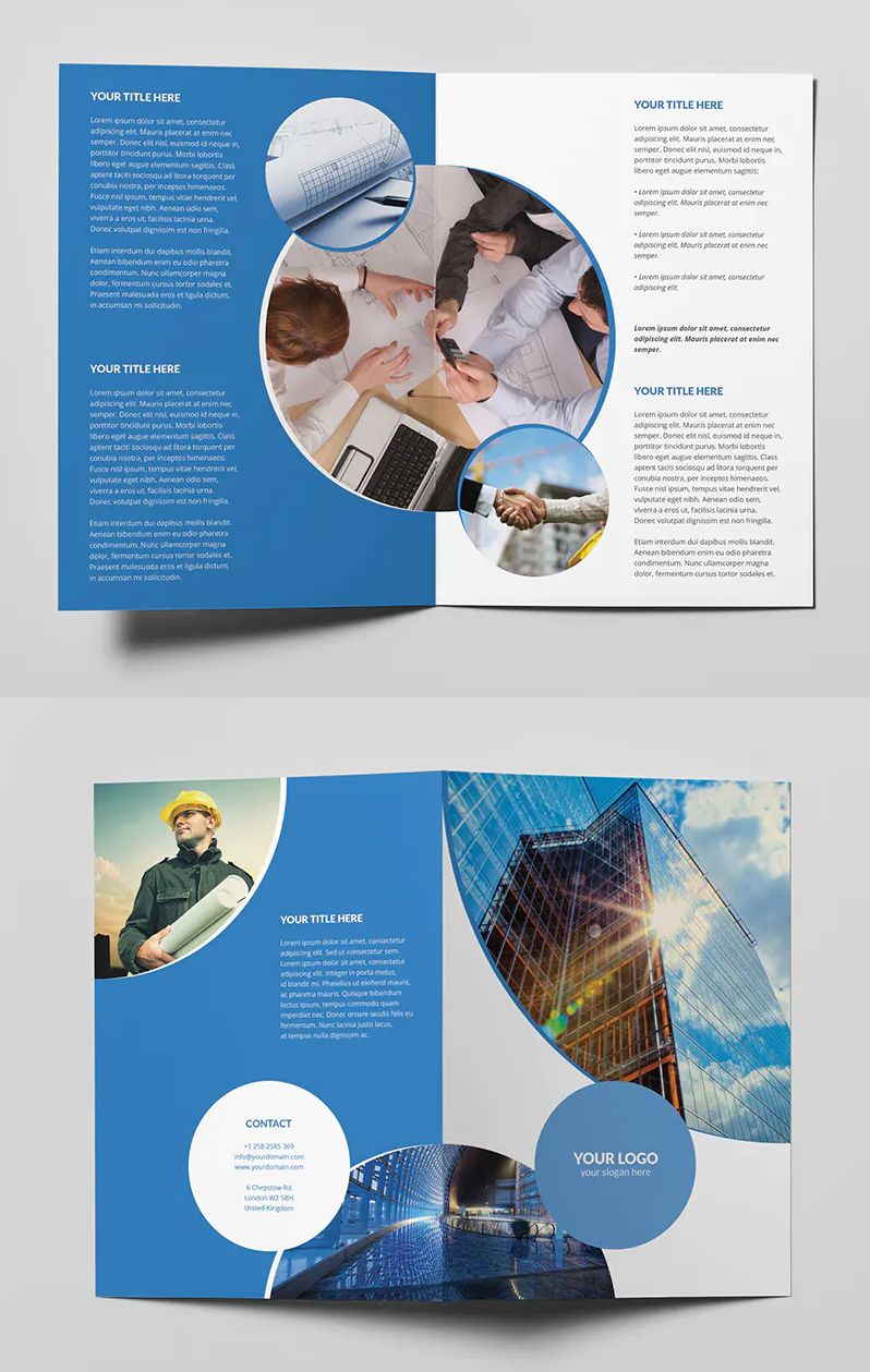 Business Circle Bi Fold Brochure Template Bi Fold Brochure Business Brochure Brochure