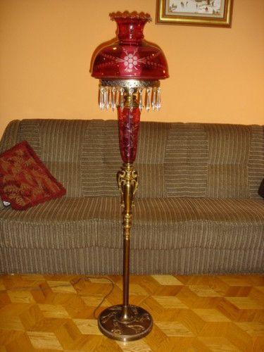 RUBY-RED Etched Glass FLOOR Lamp, VINTAGE | eBay | Lighting ...