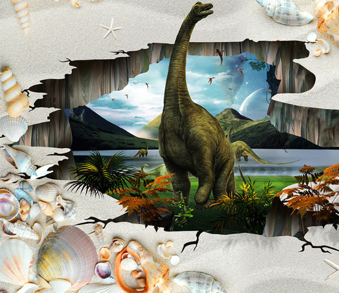 3D Dinosaur Home Floor Mural (With images) Floor murals
