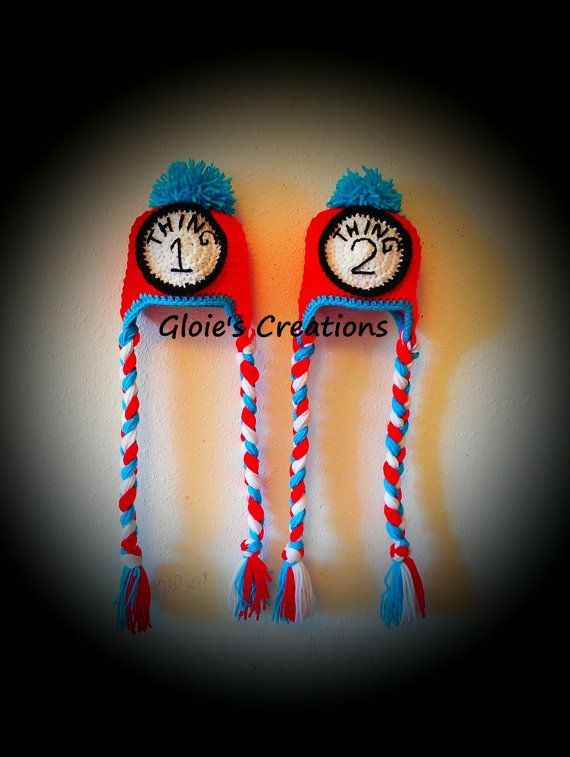 Crochet Thing 1 and 2 Hat Set Dr Seuss Cat in the hat by gfrelk1 ...