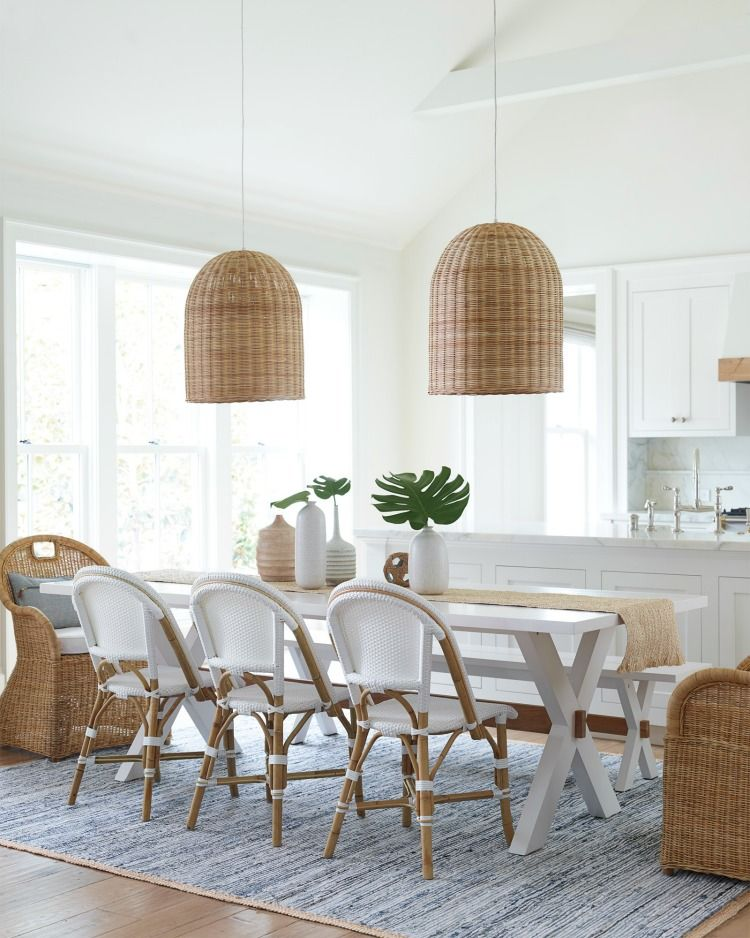 Tour This Historic Lowcountry Cottage And More Woven Chandelier Basket Pendants Coastal Lighting French Bistro Chairs Farmhouse Table Tropical Fronds