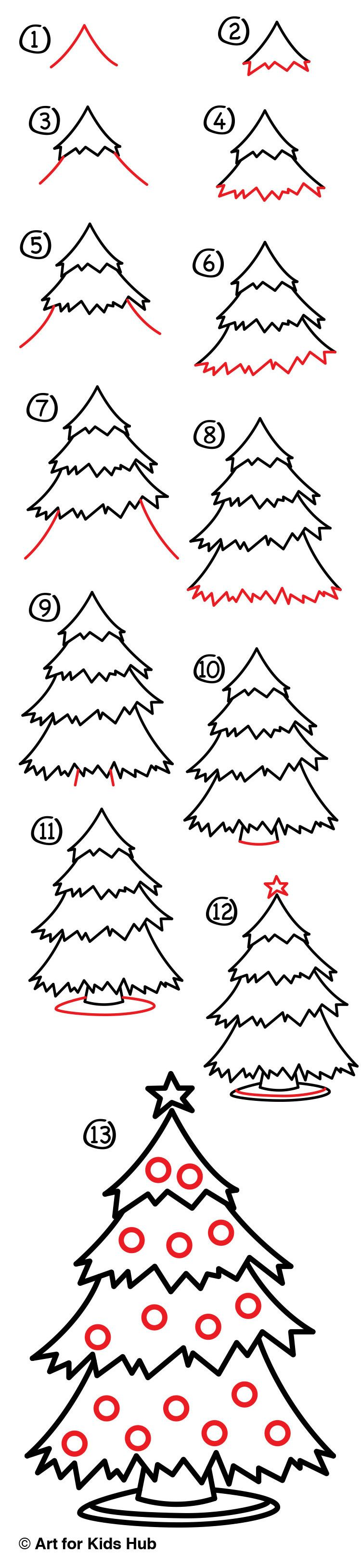 How To Draw A Christmas Tree Art For Kids Hub Art For Kids Hub Christmas Drawing Christmas Tree Art