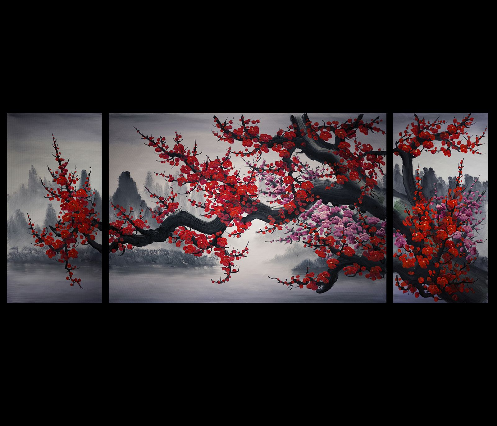 Contemporary Modern Decor Original Cherry Blossom Abstract Metal Wall Art